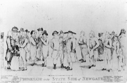 "Figure 2. Richard Newton, ""Promenade on the State Side of Newgate,"" etching published on 5 October 1793, features eight prisoners and their guests. Prominent in the center are Lord George Gordon and the celebrated dentist-inventor, Martin Van Butchell. On the far left the satirist Peter Pindar (John Wolcot) peeps in at his radical friends. Near him stands the publisher of the print, William Holland, accompanied by his daughter and wife, who was soon to catch gaol fever and die."