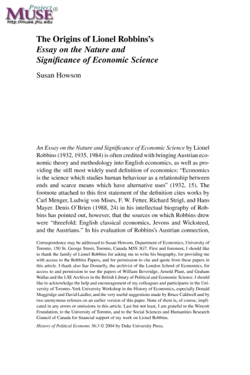 an essay on nature and significance of economic science An essay on the nature and significance of economic science by lionel robbins first appeared in 1932 as an outstanding english-language statement of the misesian view of economic method, namely that economics is a social science and must advance its propositions by means of deductive rea.