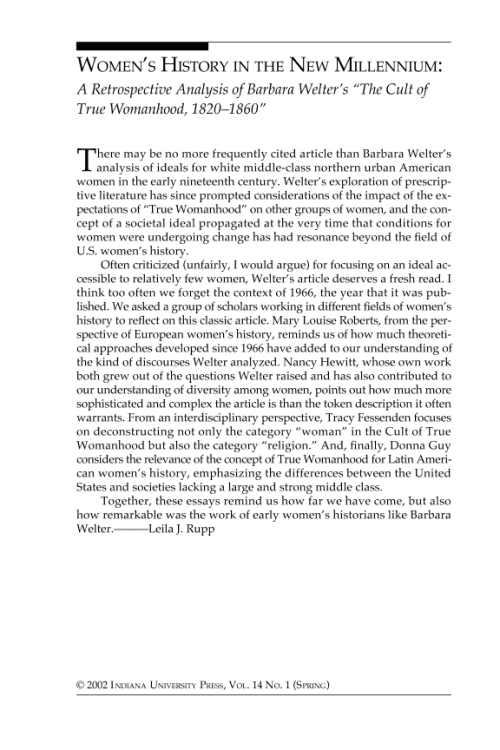 an analysis of the cult of true womanhood by barbara welter The cult of true womanhood essays - the cult of true womanhood 1820-1860, by barbara welter.