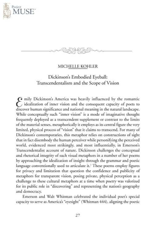 emerson and dickinson The embrace of human and nature: a comparison of emerson's essay nature  and dickinson's nature poetry corvers, j (2012) faculty of humanities theses.