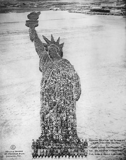 Figure 9. (Page 126) <br/>Human Statue of Liberty. Photograph by Arthur Mole, Mole & Thomas, Camp Dodge, Des Moines, Iowa, no date. Courtesy of Chicago Historical Society, Negative #ICHi-16308.