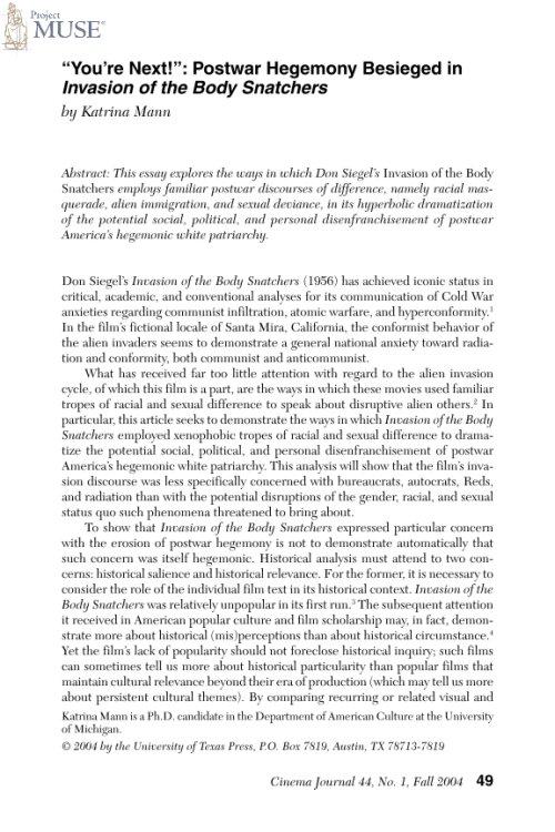 Invasion of the body snatchers essay