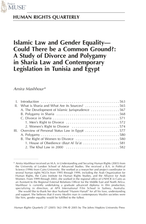 Project Muse Islamic Law And Gender Equality Could