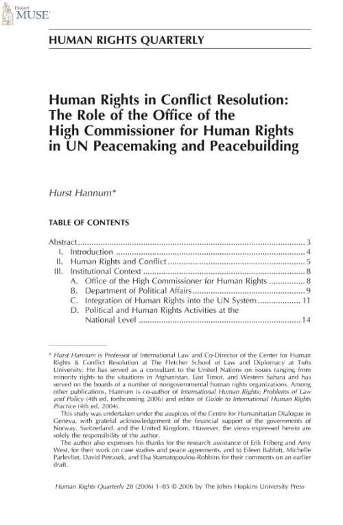 Project muse human rights in conflict resolution the role of the office of the high - Office of the commissioner for human rights ...