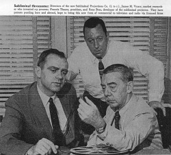 Fig. 5. James Vicary (L) with Colleagues from Subliminal Projection Co. []