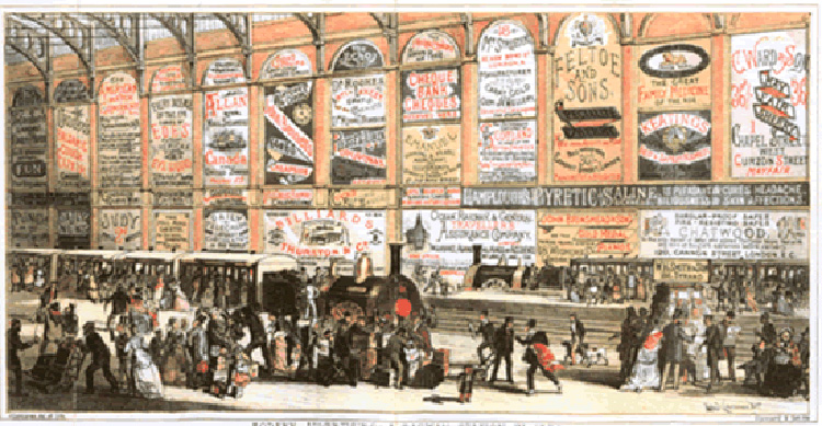 Fig. 9. Public Transportation as a Site for Advertising, London, 1874 []