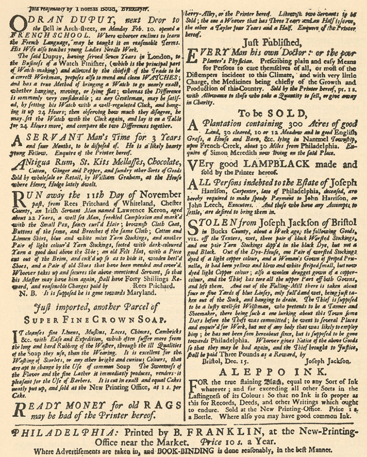 A Page of Advertisements from Franklin's Philadelphia Gazette, 1735 [Source]