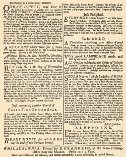 Fig. 5. A Page of Advertisements from Franklin's Philadelphia Gazette, 1735 []