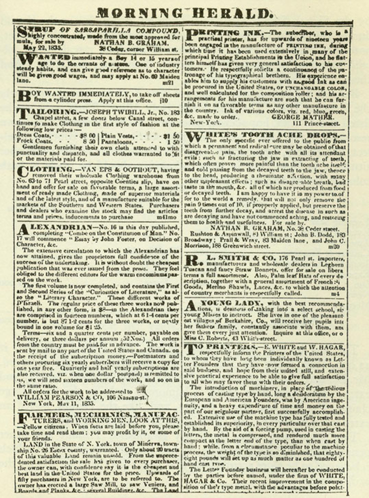 A Page of Advertisements from Bennett's New York Herald, 1835 [Source]