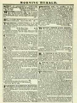 Fig. 6. A Page of Advertisements from Bennett's New York Herald, 1835 []