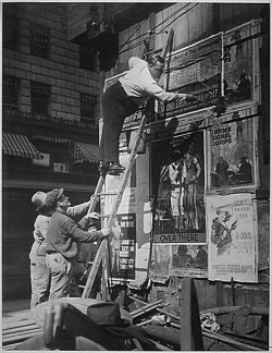 Fig. 1. Posting Wartime PSAs in Times Square in 1917 []