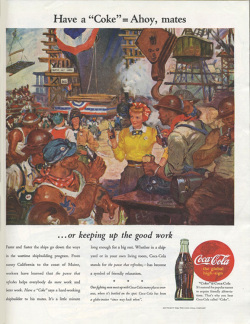 Fig. 11. This 1944 Ad Shows Wartime Factory Workers Enjoying a Coke []