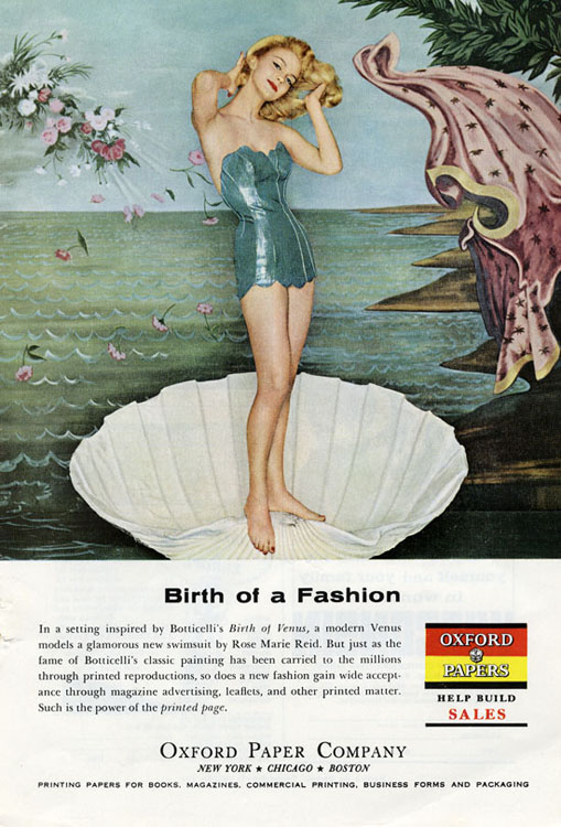 This Print Ad from 1959 Parodies The Birth of Venus (1485) by Botticelli [Source]