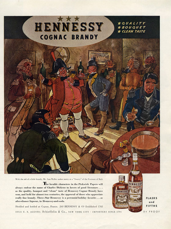Sam Weller from The Pickwick Papers Entertaining with Hennessy Brandy (1940) [Source]