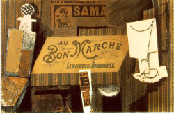 Fig. 19. Picasso's Au Bon Marché (1913) Incorporates Found Objects from Advertisements []