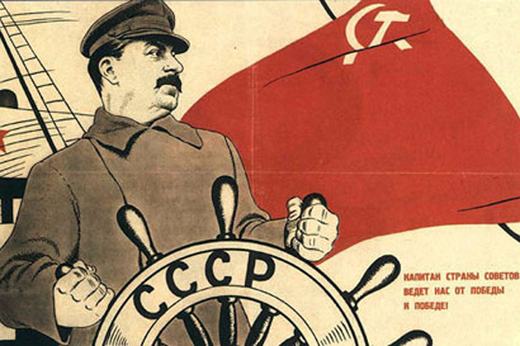 Soviet Leader Joseph Stalin at the Helm in a 1930s Soviet Propaganda Poster [Source]