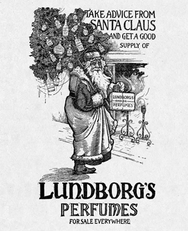 Santa Promotes Lundborg's Perfumes in This 1894 Ad[Source]