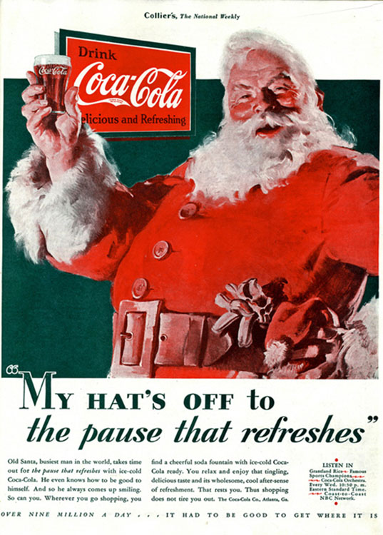 Haddon Sundblom's First Image of Santa for Coke (1931)[Source]