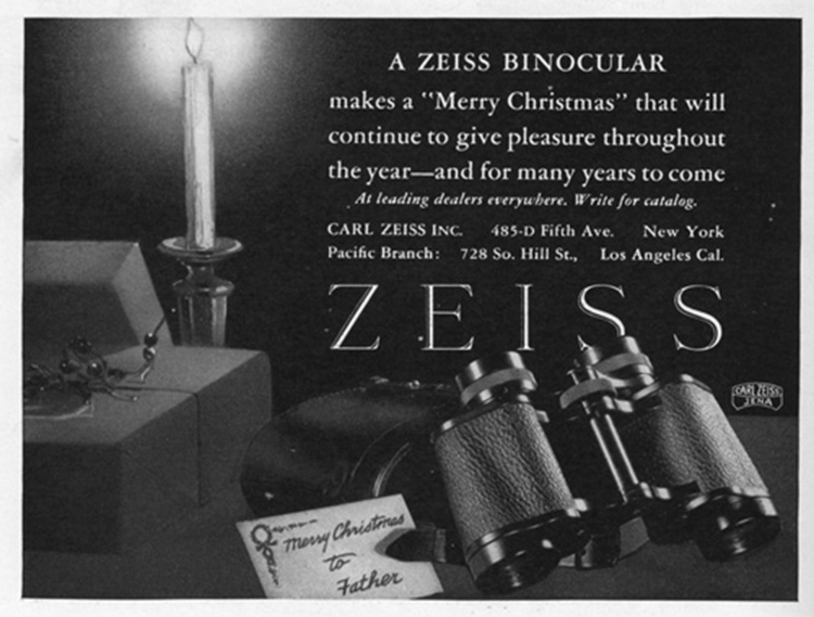 This Ad Suggests Binoculars as a Christmas Gift with Lasting Significance (1927)[Source]