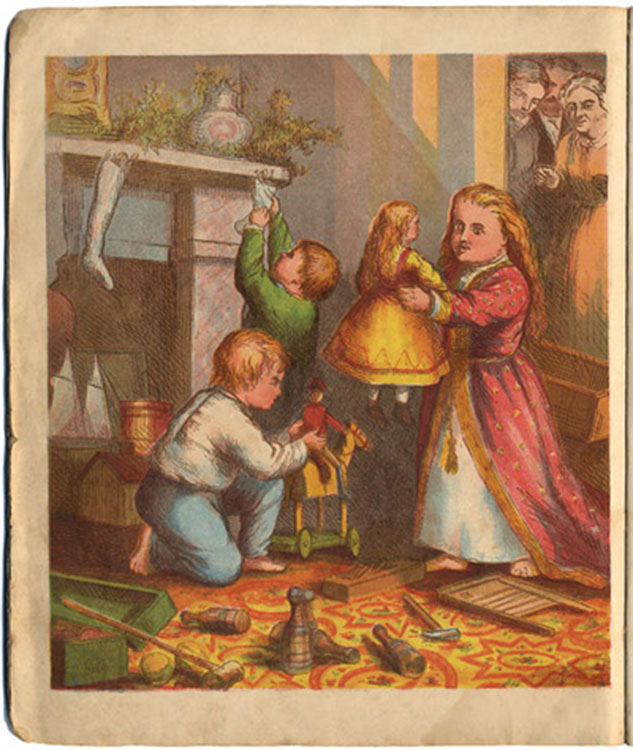 Children Playing with Gender Specific Toys at Christmas (1869)[Source]