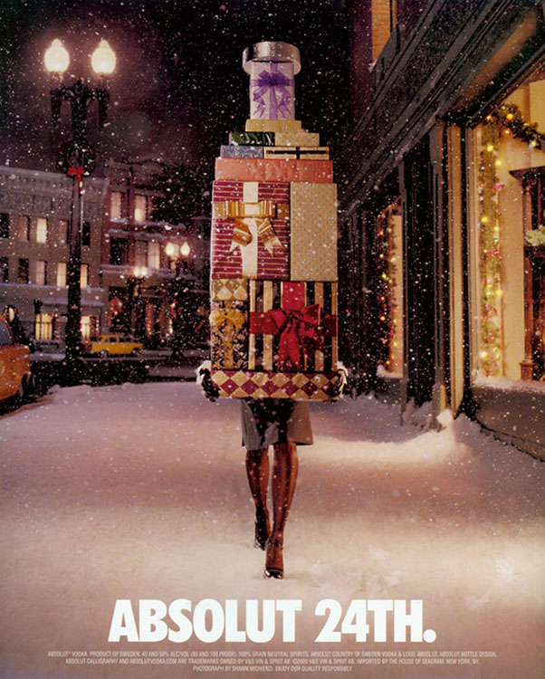 This Absolut Ad Parodies the Female Christmas Shopper[Source]