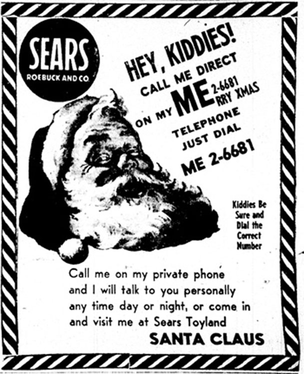 The Original Sears Ad that Led to NORAD Tracking Santa[Source]