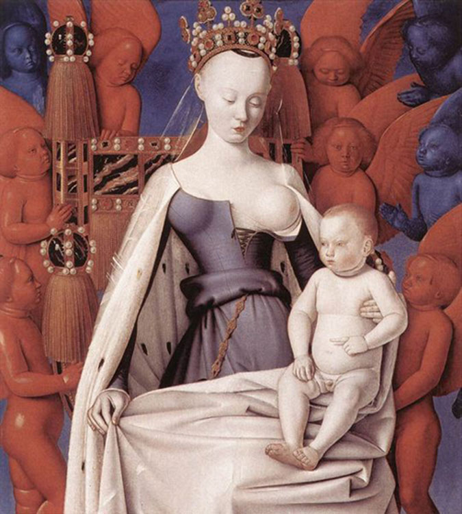 Jean Fouquet: Virgin and Child Surrounded by Angels (c.1450) [Source]