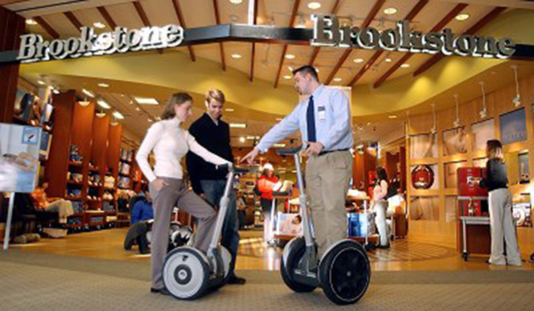 Brookstone Demonstrates the High-Tech Segway® Personal Transporter (PT) [Source]