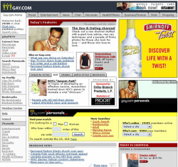 Fig. 36. The Homepage for Gay.com Features Ads from National Advertisers []