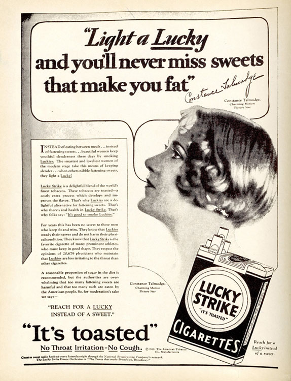 This 1929 Ad Tells Consumers to Smoke Lucky Strike Cigarettes to Stay Thin [Source]