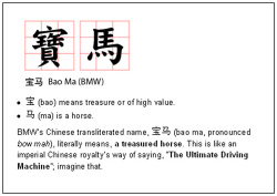 Fig. 22. This Translation of BMW in Chinese Characters Takes Advantage of the Characters' Base Meaning []