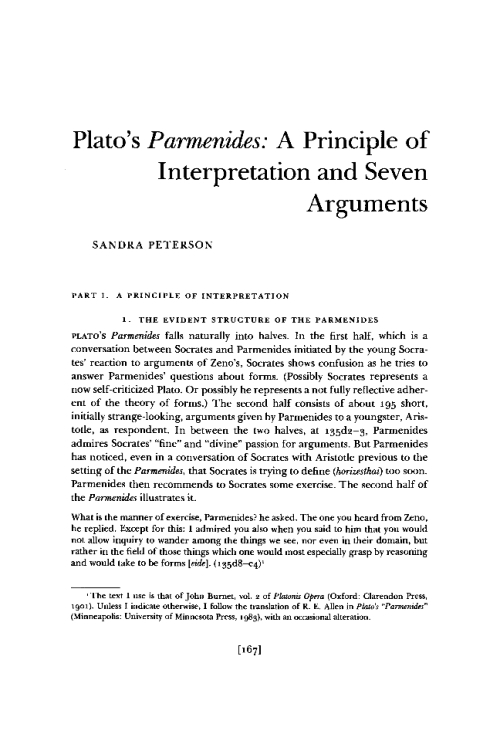 "parmenides argument Plato's parmenides contains an argument against the so-called platonic theory of forms known as the ""third man argument"" here's how it goes."