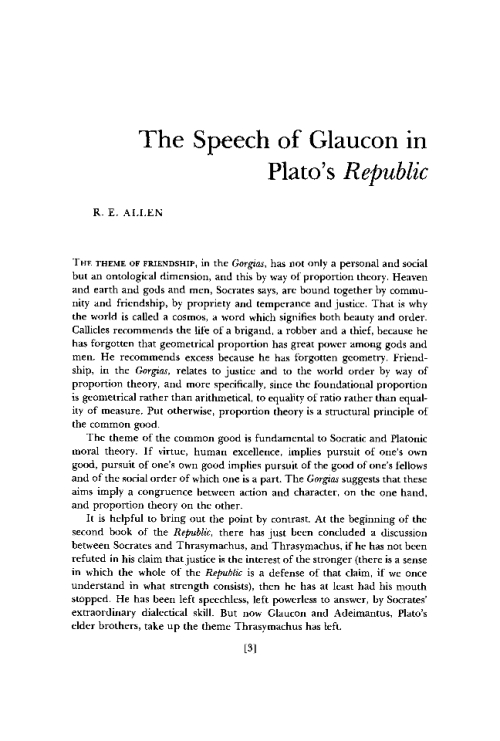 glaucons argument Aristotle bonus: answering glaucon's challenge  in one of my favorite passages in all of philosophy, after giving his argument, adeimantus (glaucon's brother) says.