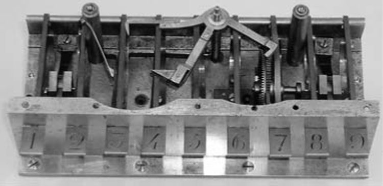 Figure 3. The inside of Schilt's machine (1851). The upper left arm probably broke at some time and received a new extension. (Photograph by David Todd, Smithsonian Institution.)