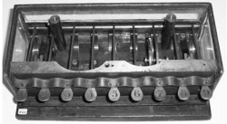 Figure 8. The inside of Schwilgué 's adding machine in Zurich (1851). (Photograph by the author, courtesy of the Swiss Federal Institute of Technology, Zurich.)