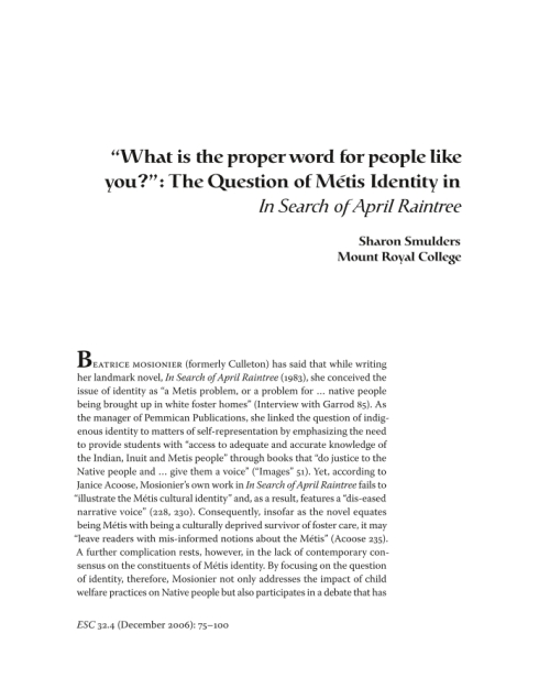 """essay april raintree quotes Search of april raintree has been more often and more directly viewed as  49  ricoeur quotes monroe beardsley's assertion that metaphor is """"a poem in  that  deloria raised to produce an entire text of collected essays, biolsi and."""