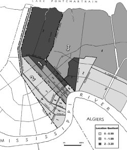 Figure 2. Location Quotient by Ward. Source: This map originally printed in Sumpter, A. 2002. Segregation of the Free People of Color in Antebellum New Orleans in 1850 and the Changing Nature of the Construction of Race between the Colonial and Antebellum Periods, 1718–1860. Base map originally published in Wards of New Orleans. 1961. Bureau of Governmental Research, Inc.
