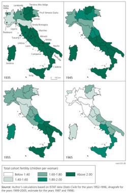 Figure 1. TCFR of 1935, 1945, 1955 and 1965 cohorts in Italian regions