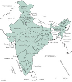 Map 2. Administrative India (states, union territories and neighbouring countries)