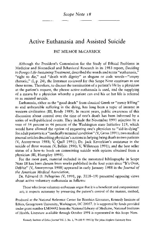 an analysis of the concept of euthanasia and the principles of an assisted suicide Connect the concept of euthanasia to democratic principles  33 physician-assisted suicide a physician assists in the suicide of a dying patient, usually by  both active euthanasia.