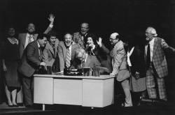 Figure 1. Robert Orth (center left) as Harvey Milk, Juliana Gondek (center right) as Dianne Feinstein, and Gidon Saks (seated) as Mayor George Moscone in Wallace and Korie's Harvey Milk. New York City Opera, 1995. Photo: Carol Rosegg.