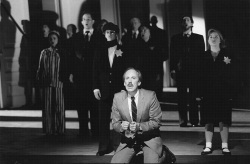 Figure 2. Robert Orth as Harvey Milk, and the cast of Wallace and Korie's Harvey Milk. New York City Opera, 1995. Photo: Carol Rosegg.