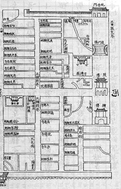 Figure 1. Part of the designated neighborhoods for the Bordered Yellow Banner. Source: Qinding Baqi tongzhi, 30 (Qifen zhi 30): 5b.