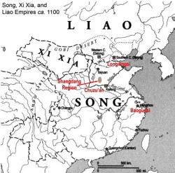 Fig. 1. Map of China ca. 1100. Showing the location of the Shangdang region relative to other areas of preserved Song-period architecture, as discussed in the text. After Fredrick W. Mote, Imperial China: 900-1800 (Cambridge, MA: Harvard University Press, 1999), p. 58.