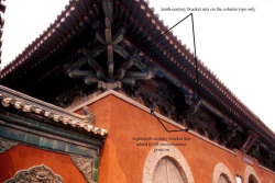 Fig. 41. Longxingsi Entry Gatehouse. 10th c. with 18th c. modifications. Zhengding County, Hebei Province. Detail of front façade eaves bracketing, contrasting brackets of the 10th and 18th c. Photograph by author.