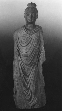 Fig. 3. Buddha. Provenance unknown. H. 135 cm. Lahore Museum. From The Route of Buddhist Art, Nara, 1988, pl. 49.