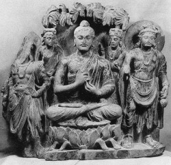 Fig. 23. Buddha triad. From Sahrī-Bahlol Mound D. H. 55 cm. Peshawar Museum. From Ingholt and Lyons, Gandhāran Art in Pakistan, pl. 253.