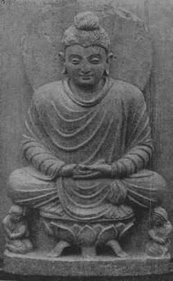 Fig. 42. Buddha. Loriyān-Tangai. Whereabouts unknown. From Grünwedel, Buddhist Art in India, fig. 112.