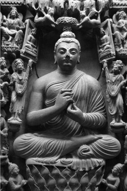 Fig. 45. Central Buddha in a complex stele. Mohamed-Nari. H. of stele 105 cm. Lahore Museum.