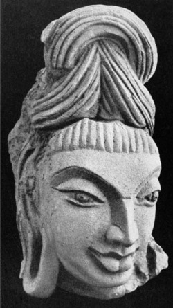 "Fig. 6. Śiva Head. Ca. 490-510. Ahicchatra, Bareilly District Uttar Pradesh, India. Terra-cotta; h. 17 cm. National Museum, New Delhi, 62.243. Courtesy National Museum, New Delhi. From V. S. Agrawala, ""The Terracottas of Ahichchhatrā,"" Ancient India, Bulletin of the Archaeological Survey of India, no. 4 (July 1947-January 1948), pl. XLIV, 113a."